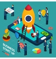 Business startup launch concept isometric poster vector image vector image