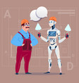 cartoon builder working with robot holding spatula vector image vector image