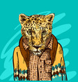cheetah in a jacket vector image vector image