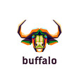 colorful buffalo head for logo vector image