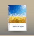 cover of diary or notebook blue sky polygonal vector image vector image