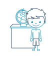 cute boy with planet earth character icon vector image vector image