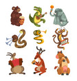 cute cartoon animal characters playing various vector image