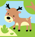 cute deer in forest child graphic vector image vector image