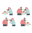 family conflict scenes flat isolated vector image