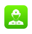 firefighter icon digital green vector image