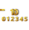 golden metal numbers realistic vector image