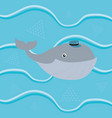 gray whale with vintage hat cartoon vector image