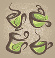 herbal tea collection cups vector image vector image