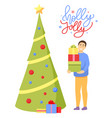 holly jolly christmas and winter holidays vector image vector image