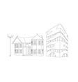 house and builiding in lines vector image