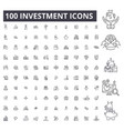 investment editable line icons 100 set vector image vector image