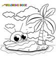 island in sea and cute cartoon sun vector image