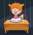 kid studying at night vector image