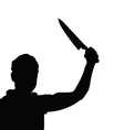 man with knife silhouette vector image