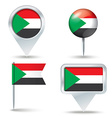 Map pins with flag of Sudan vector image