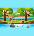 monkey in forest vector image vector image