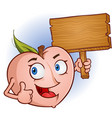 peach cartoon character holding a wooden sign vector image vector image
