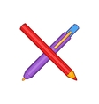 Pencil and pen icon in cartoon style vector image vector image