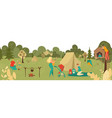 people relaxing in park with kids parents playing vector image vector image