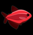 red fish on black background vector image vector image