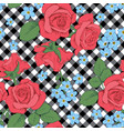 Red roses and myosotis flowers on black and white
