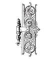 renaissance hinge door hinge vintage engraving vector image vector image