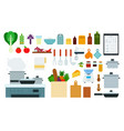 set kitchen devices icons flat vector image vector image