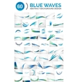 Set of blue waves vector image vector image