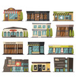 shops orthogonal icons set vector image vector image