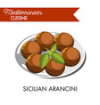 sicilian arancini with natural herb served on vector image vector image