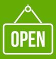Sign open icon green