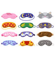 sleep masks different shapes eye protection vector image vector image