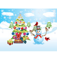 Snowman with Christmas Tree3 vector image