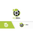 soccer and leaf logo combination ball and vector image vector image