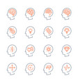 thin line head icons set vector image vector image