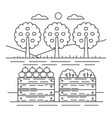 thin line style fruits garden yard concept with vector image