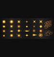 transparent golden light flare and sparkles mega vector image