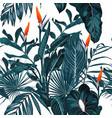 tropical vintage palm monsterastrelitzia flower vector image vector image