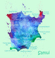 watercolor map koh samui with localities vector image vector image