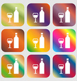 Wine Icon sign Nine buttons with bright gradients vector image vector image