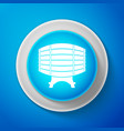 wooden barrel on rack icon on blue background vector image vector image