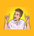 young man points gesture vector image