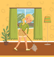 young woman in casual clothing cleaning the floor vector image vector image