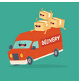 your package rushes to you on delivery van vector image vector image