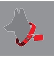 silhouette of a dog wearing red collar with tag vector image