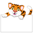 Cute tiger cartoon with blank sign vector image