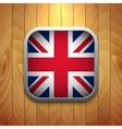 Rounded Square United Kingdom Flag Icon on Wood vector image