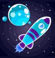 a blue rocket sticker with purple stripes and blue vector image vector image