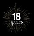 black eighteen years greeting card with golden vector image vector image